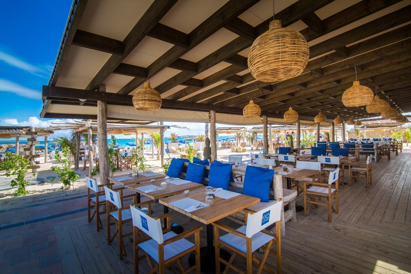restaurant dining room on the beach Orient Bay St Martin